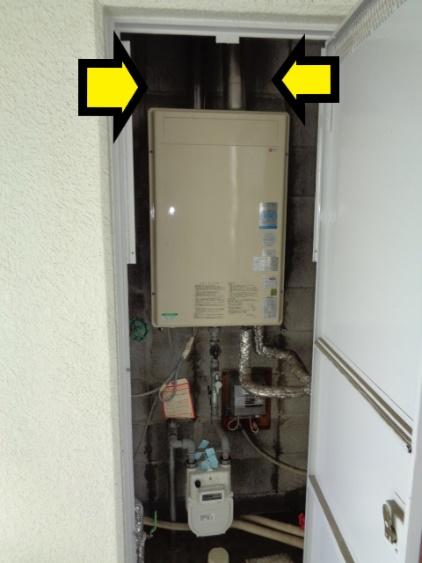 二重管の給湯器を取替工事